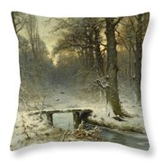 A January Evening In The Woods Throw Pillow