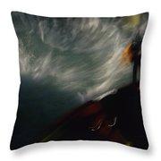 A Kayaker Negotiates Rapids Throw Pillow