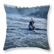 A Kayaker Takes On White Water Rapids Throw Pillow
