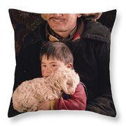 A Kazakh Eagle Hunter And His Son Throw Pillow by David Edwards