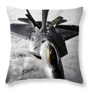 A Kc-135 Stratotanker Refuels A F-22 Throw Pillow by Stocktrek Images