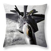 A Kc-135 Stratotanker Refuels A F-22 Throw Pillow