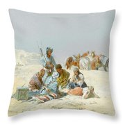 A Kirghiz Gathering Throw Pillow