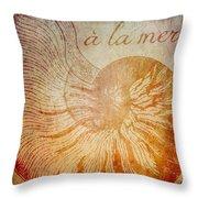 A La Mer Nautilus Throw Pillow