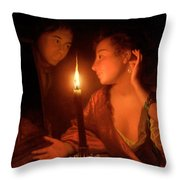 A Lady Admiring An Earring By Candlelight Throw Pillow