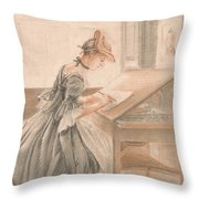 A Lady Copying At A Drawing Table Throw Pillow