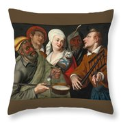 A Lady Holding A Swaddled Cat A Man With A Pan Of Porridge Another Playing With Fire Irons And Two O Throw Pillow