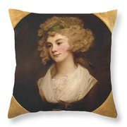 A Lady In A Brown Dress Throw Pillow