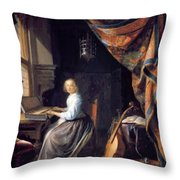A Lady Playing The Clavichord Throw Pillow