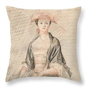 A Lady With A Fan Throw Pillow