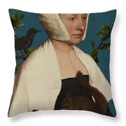 A Lady With A Squirrel And A Starling Anne Lovell Throw Pillow