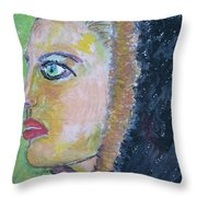 A Lady's Profile In The Navy Hood Throw Pillow