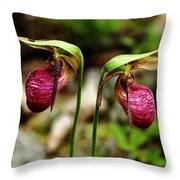 A Lady's Slippers Throw Pillow