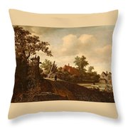 A Landscape With A Figure On A Path And A Bleaching Throw Pillow
