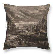A Landscape With A Village Throw Pillow