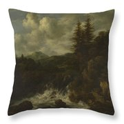 A Landscape With A Waterfall And A Castle On A Hill Throw Pillow