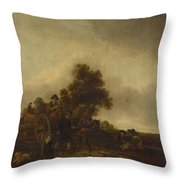 A Landscape With Peasants And A Cart Throw Pillow