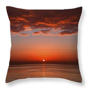 A Layer Of Clouds Is Lit By The Rising Throw Pillow