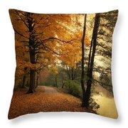 A Leafy Path Throw Pillow