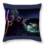 A Light Painted Scene Of A Rusty Caddy By A Barn And Cornfield Throw Pillow