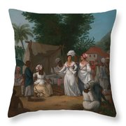 A Linen Market With A Linen-stall And Vegetable Seller In The West Indies Throw Pillow