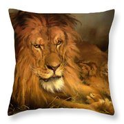 A Lion And A Lioness Throw Pillow