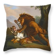 A Lion And Tiger In Combat Throw Pillow