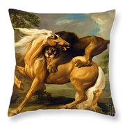 A Lion Attacking A Horse Throw Pillow