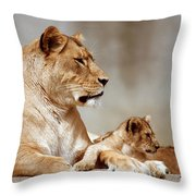 A Lioness And Cub Throw Pillow
