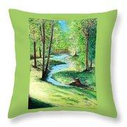 A Little Brook With A Bridge Throw Pillow