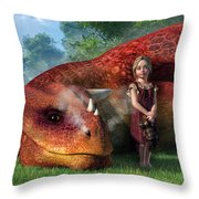 A Little Girl And Her Dragon Throw Pillow