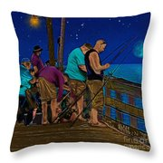 A Little Night Fishing At The Rodanthe Pier 2 Throw Pillow by Anne Kitzman