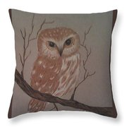 A Little Owl Throw Pillow by Ginny Youngblood