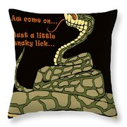 A Little Snaky Lick Throw Pillow