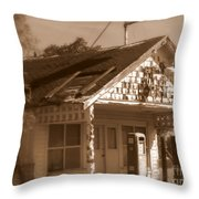A Little Weathered Gas Station Throw Pillow