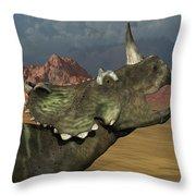 A Lone Centrosaurus Dinosaur Calling Throw Pillow