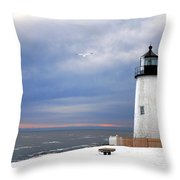 A Lonely Seagull Was Flying Over The Pemaquid Point Lighthouse Throw Pillow