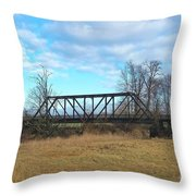 A Lonesome Railroad Bridge In Winter   Throw Pillow