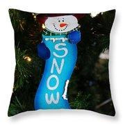 A Long Snow Ornament- Vertical Throw Pillow
