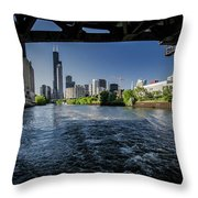 A Look At The Chicago Skyline From Under The Roosevelt Road Bridge  Throw Pillow