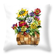 A Lovely Basket Of Flowers Throw Pillow