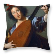 A Lute-player Throw Pillow