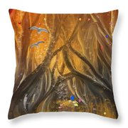 A Magical Dream In A Forest Throw Pillow
