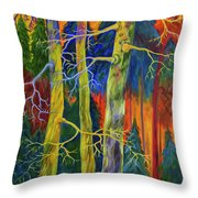 A Magical Forest Throw Pillow