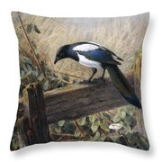 A Magpie Observing Field Mice Throw Pillow