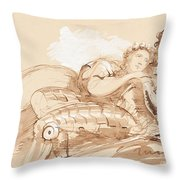 A Maiden Embraced By A Knight In Armor Throw Pillow