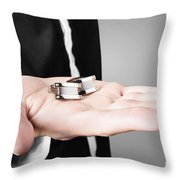 A Male Model Showcasing Cuff Links In His Hand Throw Pillow