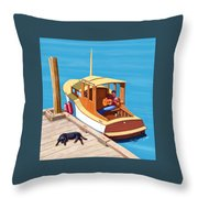 A Man, A Dog And An Old Boat Throw Pillow