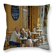 A Man A Woman A French Cafe Throw Pillow by Allen Sheffield