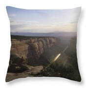 A Man Admires The Sunset From A Canyon Throw Pillow